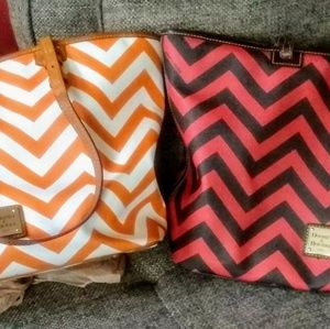 *2* DOONEY AND BOURKE LG CHEVRON TOTE HANDBAGS!!